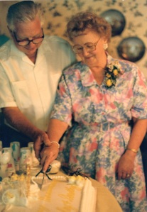 1991:  Cutting 50th Anniversary Cake