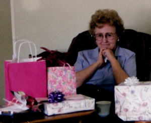 Mom with Gifts, 1995 75th birthday