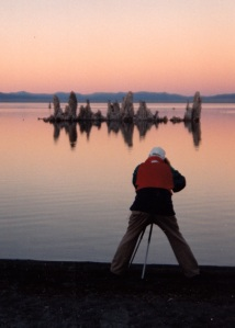 Mono sunset dad with tripod rear