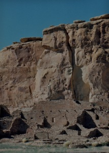 chaco pueblo bonito against cliff mid