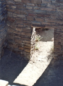 chaco pueblo bonito door and light