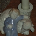 Sleeping Child & Lamb Candle Holder