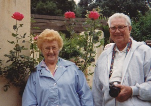 Mom and Dad by roses