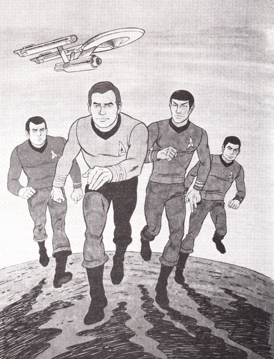 The Animated Crew from The Star Trek Compendium: Scott, Kirk, Spock & McCoy
